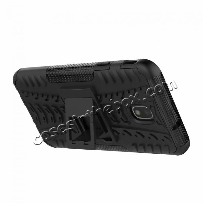 best price Rugged Armor Shockproof Protective Kickstand Phone Case For Samsung Galaxy J3 (2018) - Black