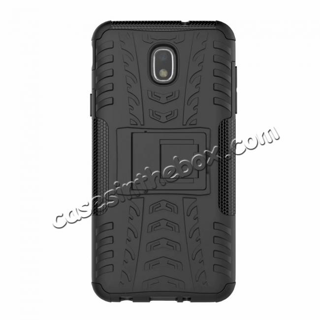 top quality Rugged Armor Shockproof Protective Kickstand Phone Case For Samsung Galaxy J3 (2018) - Black