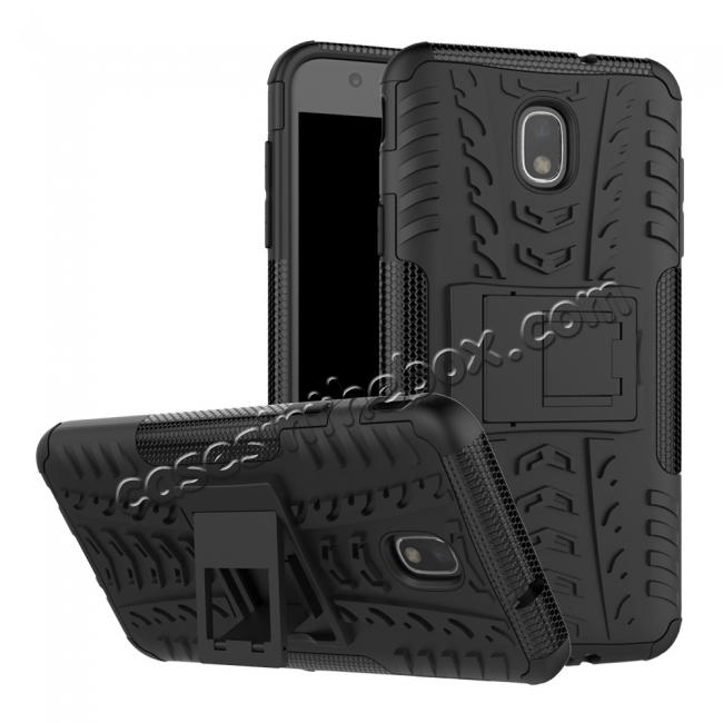 wholesale Rugged Armor Shockproof Protective Kickstand Phone Case For Samsung Galaxy J3 (2018) - Black