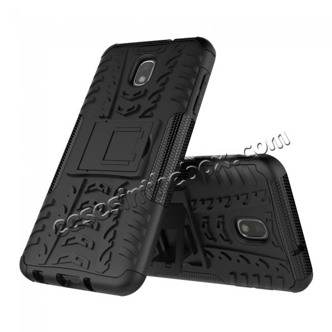 discount Rugged Armor Shockproof Protective Kickstand Phone Case For Samsung Galaxy J3 (2018) - Black