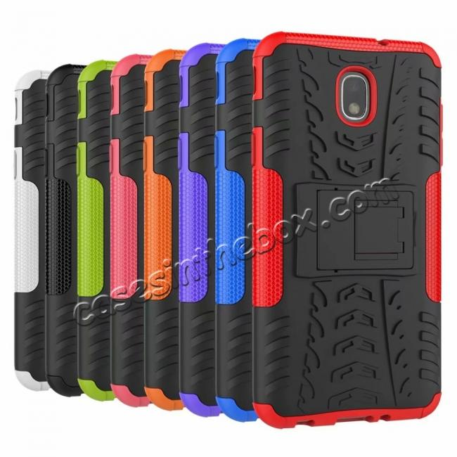 low price Rugged Armor Shockproof Protective Kickstand Phone Case For Samsung Galaxy J3 (2018) - Black