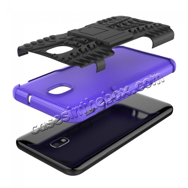cheap Rugged Armor Shockproof Protective Kickstand Phone Case For Samsung Galaxy J3 (2018) - Purple