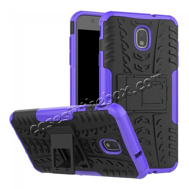 wholesale Rugged Armor Shockproof Protective Kickstand Phone Case For Samsung Galaxy J3 (2018) - Purple