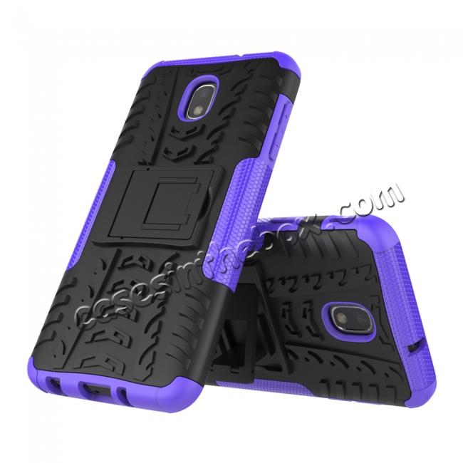 discount Rugged Armor Shockproof Protective Kickstand Phone Case For Samsung Galaxy J3 (2018) - Purple