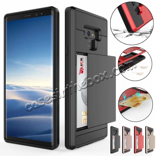 wholesale For Samsung Galaxy Note 9 Card Slot Shockproof Hybrid Bumper Case Cover