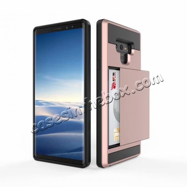 discount For Samsung Galaxy Note 9 Card Slot Shockproof Hybrid Bumper Case Cover