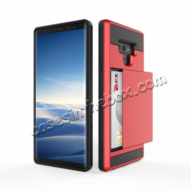 cheap For Samsung Galaxy Note 9 Card Slot Shockproof Hybrid Bumper Case Cover