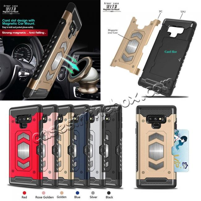 wholesale For Samsung Galaxy Note 9 TPU Shockproof Card Slot Magnetic Car Mount Armor Case Cover