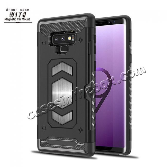 on sale For Samsung Galaxy Note 9 TPU Shockproof Card Slot Magnetic Car Mount Armor Case Cover