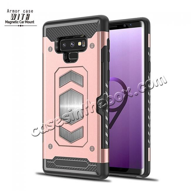 high quanlity For Samsung Galaxy Note 9 TPU Shockproof Card Slot Magnetic Car Mount Armor Case Cover
