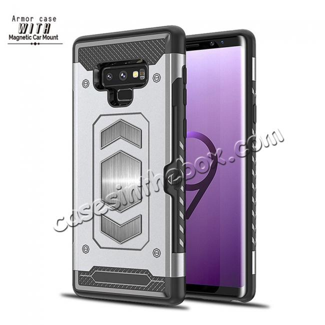 low price For Samsung Galaxy Note 9 TPU Shockproof Card Slot Magnetic Car Mount Armor Case Cover