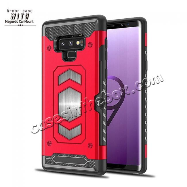 China leading wholesale For Samsung Galaxy Note 9 TPU Shockproof Card Slot Magnetic Car Mount Armor Case Cover