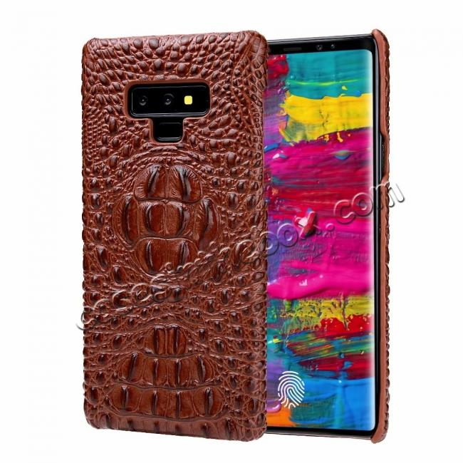 discount Crocodile Head Pattern Real Leather Case for Samsung Galaxy Note 9