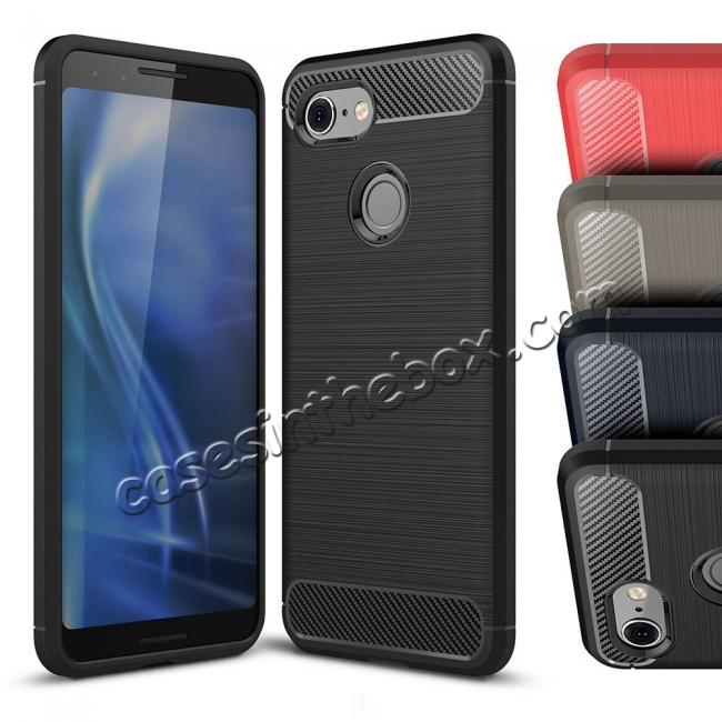 wholesale For Google Pixel 3 Case Shockproof Carbon Fiber Soft TPU Cover