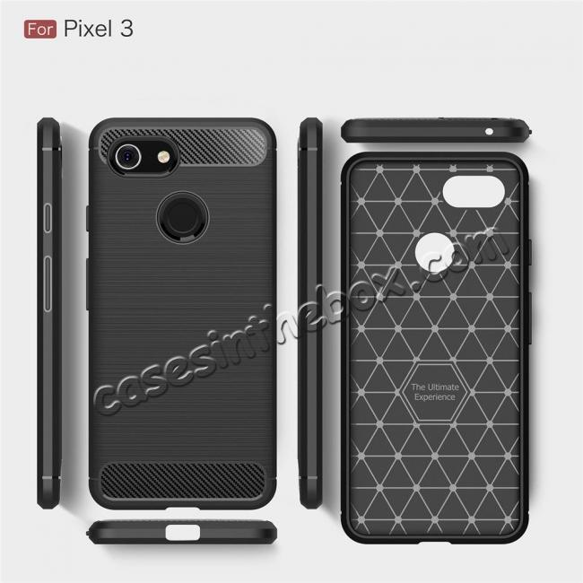 discount For Google Pixel 3 Case Shockproof Carbon Fiber Soft TPU Cover
