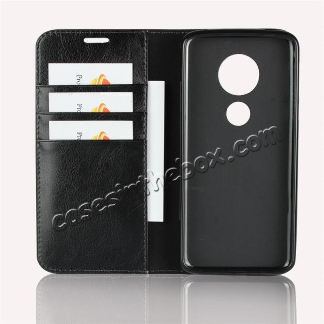 best price For Motorola Moto E5 Crazy Horse Genuine Leather Case Flip Stand Card Slot - Black