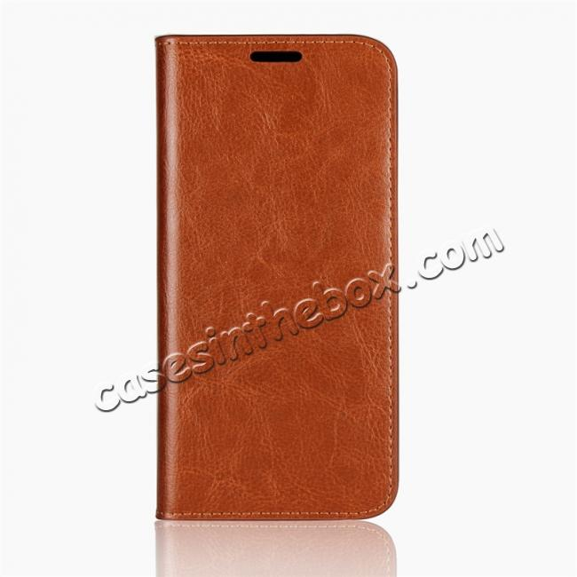 discount For Motorola Moto E5 Crazy Horse Genuine Leather Case Flip Stand Card Slot - Brown