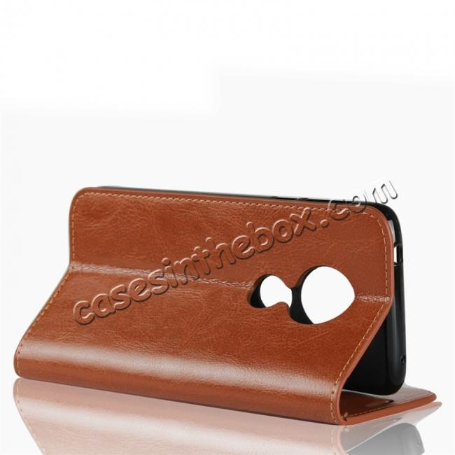 top quality For Motorola Moto E5 Crazy Horse Genuine Leather Case Flip Stand Card Slot - Brown