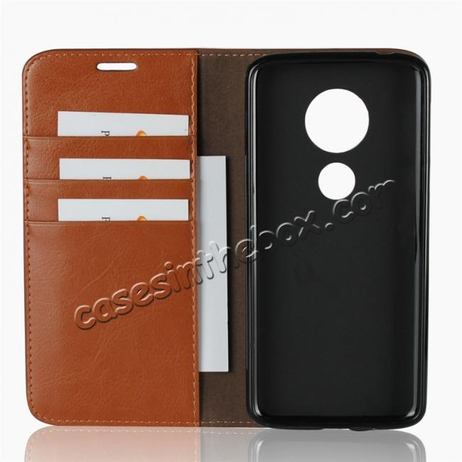 best price For Motorola Moto E5 Crazy Horse Genuine Leather Case Flip Stand Card Slot - Brown