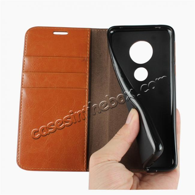 on sale For Motorola Moto E5 Crazy Horse Genuine Leather Case Flip Stand Card Slot - Brown
