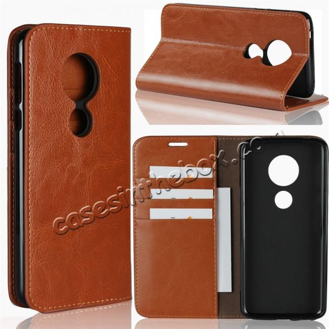 wholesale For Motorola Moto E5 Crazy Horse Genuine Leather Case Flip Stand Card Slot - Brown