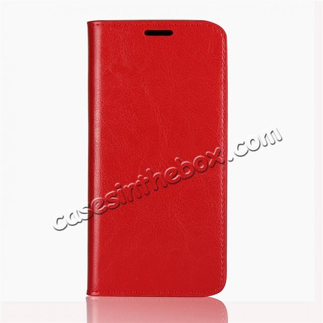 discount For Motorola Moto E5 Crazy Horse Genuine Leather Case Flip Stand Card Slot - Red