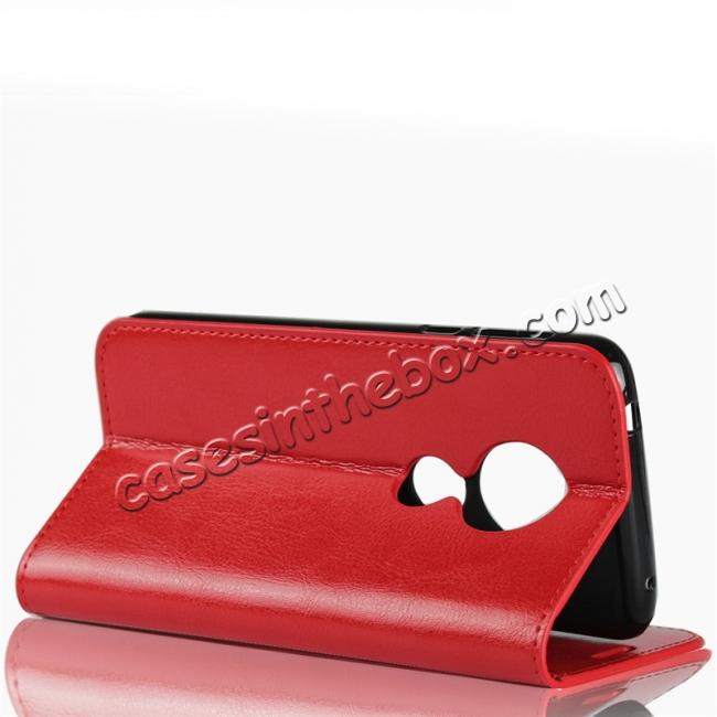 top quality For Motorola Moto E5 Crazy Horse Genuine Leather Case Flip Stand Card Slot - Red
