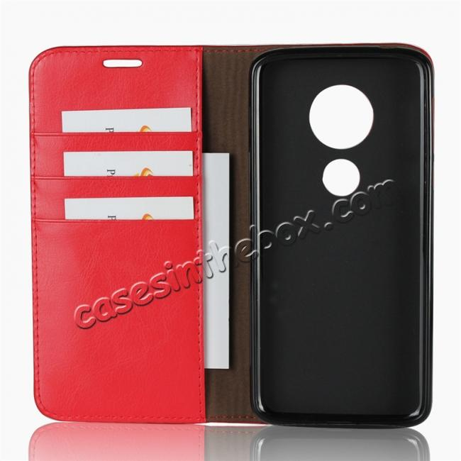 best price For Motorola Moto E5 Crazy Horse Genuine Leather Case Flip Stand Card Slot - Red