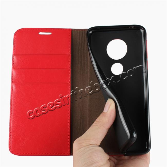 on sale For Motorola Moto E5 Crazy Horse Genuine Leather Case Flip Stand Card Slot - Red