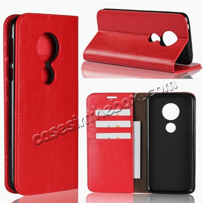 wholesale For Motorola Moto E5 Crazy Horse Genuine Leather Case Flip Stand Card Slot - Red
