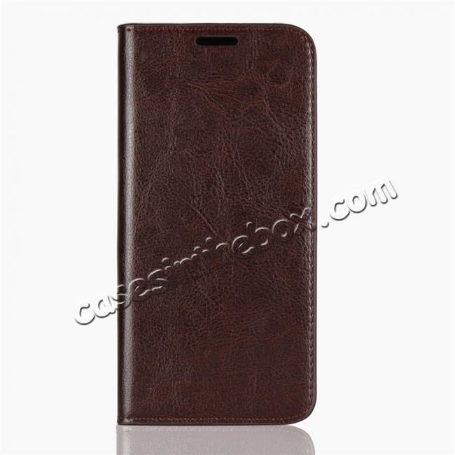 discount For Motorola Moto E5 Crazy Horse Genuine Leather Case Flip Stand Card Slot - Coffee