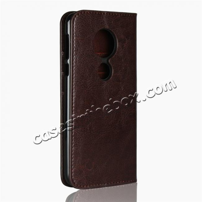 cheap For Motorola Moto E5 Crazy Horse Genuine Leather Case Flip Stand Card Slot - Coffee