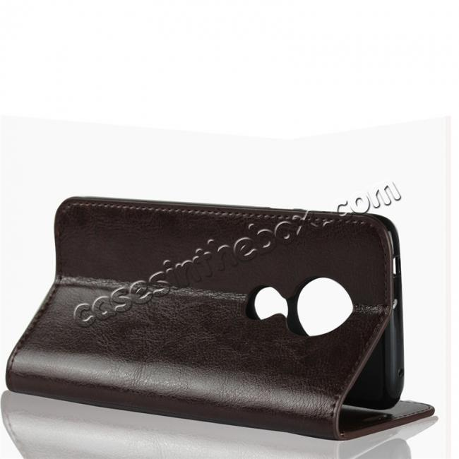 top quality For Motorola Moto E5 Crazy Horse Genuine Leather Case Flip Stand Card Slot - Coffee