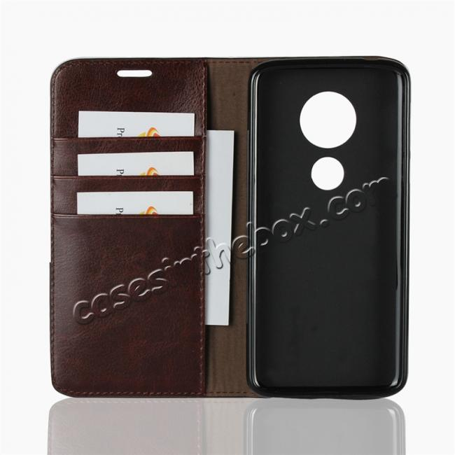 best price For Motorola Moto E5 Crazy Horse Genuine Leather Case Flip Stand Card Slot - Coffee