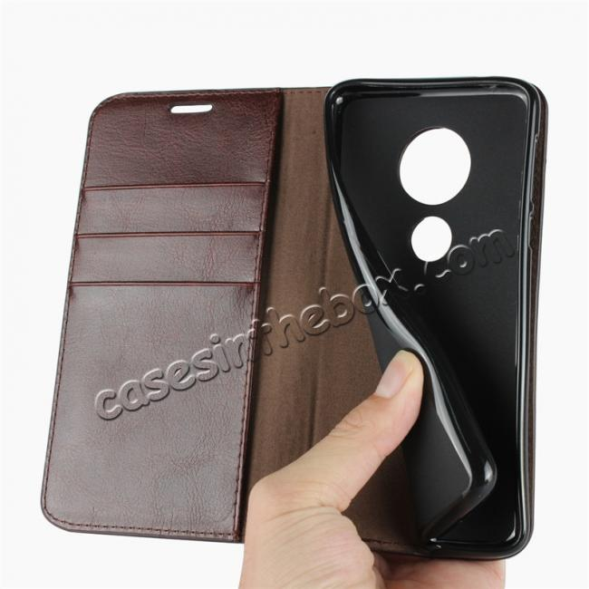 on sale For Motorola Moto E5 Crazy Horse Genuine Leather Case Flip Stand Card Slot - Coffee