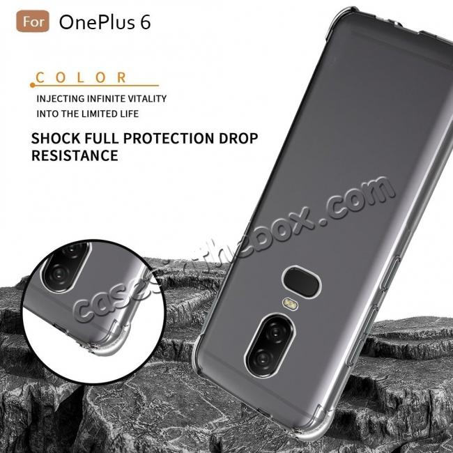 cheap For OnePlus 6 Shockproof 360° Clear Back Slim Soft TPU Case Cover