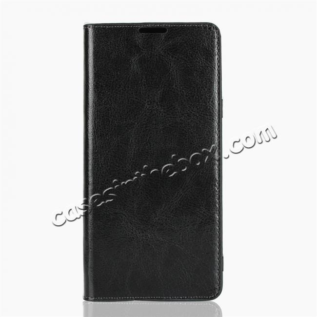 discount For Samsung Galaxy Note 9 Genuine Leather Card Slot Wallet Flip Case Cover - Black