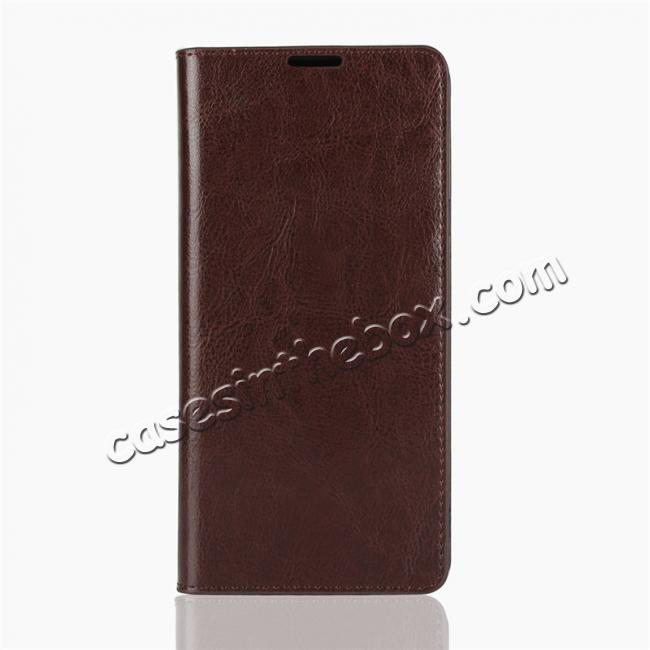 discount For Samsung Galaxy Note 9 Genuine Leather Card Slot Wallet Flip Case Cover - Coffee