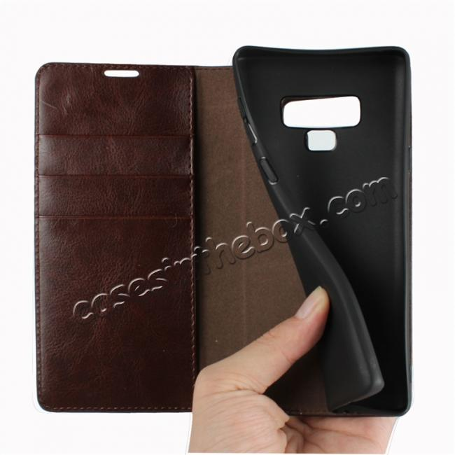 cheap For Samsung Galaxy Note 9 Genuine Leather Card Slot Wallet Flip Case Cover - Coffee