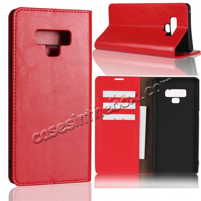 wholesale For Samsung Galaxy Note 9 Genuine Leather Card Slot Wallet Flip Case Cover - Red