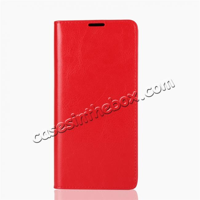 discount For Samsung Galaxy Note 9 Genuine Leather Card Slot Wallet Flip Case Cover - Red