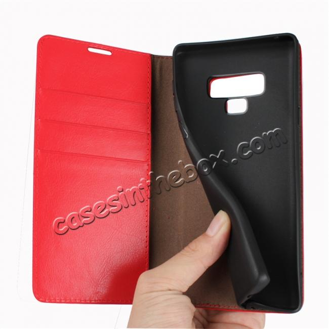 cheap For Samsung Galaxy Note 9 Genuine Leather Card Slot Wallet Flip Case Cover - Red