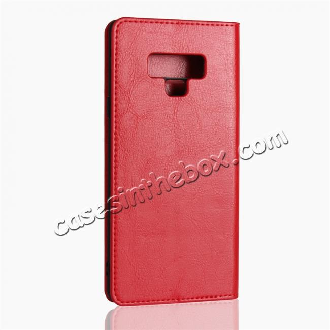 top quality For Samsung Galaxy Note 9 Genuine Leather Card Slot Wallet Flip Case Cover - Red