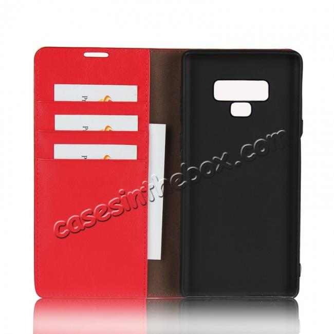 on sale For Samsung Galaxy Note 9 Genuine Leather Card Slot Wallet Flip Case Cover - Red
