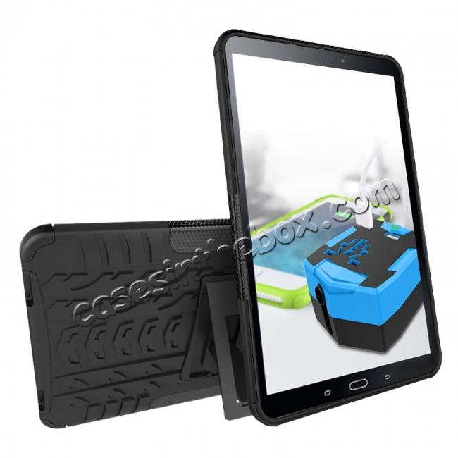 discount Heavy Duty Hybrid Protective Case with Kickstand For Samsung Galaxy Tab A 10.1 Inch SM-T580 SM-T585 - Black