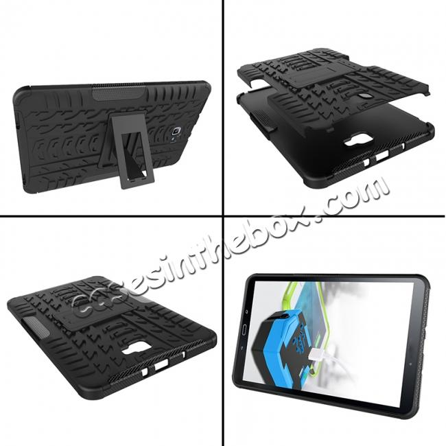 cheap Heavy Duty Hybrid Protective Case with Kickstand For Samsung Galaxy Tab A 10.1 Inch SM-T580 SM-T585 - Black
