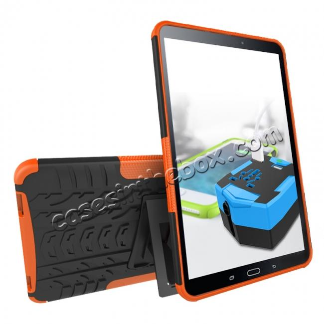 discount Heavy Duty Hybrid Protective Case with Kickstand For Samsung Galaxy Tab A 10.1 Inch SM-T580 SM-T585 - Orange