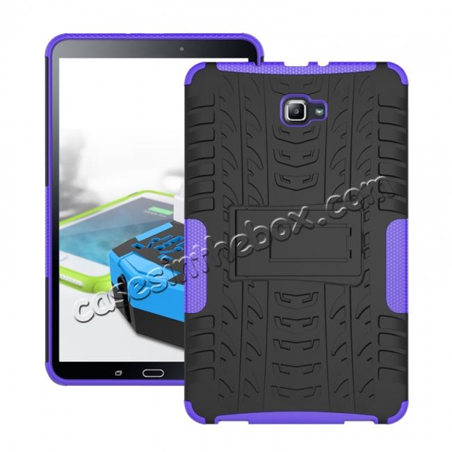 wholesale Heavy Duty Hybrid Protective Case with Kickstand For Samsung Galaxy Tab A 10.1 Inch SM-T580 SM-T585 - Purple