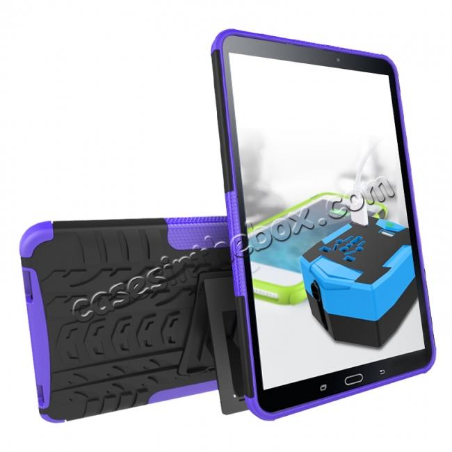 discount Heavy Duty Hybrid Protective Case with Kickstand For Samsung Galaxy Tab A 10.1 Inch SM-T580 SM-T585 - Purple