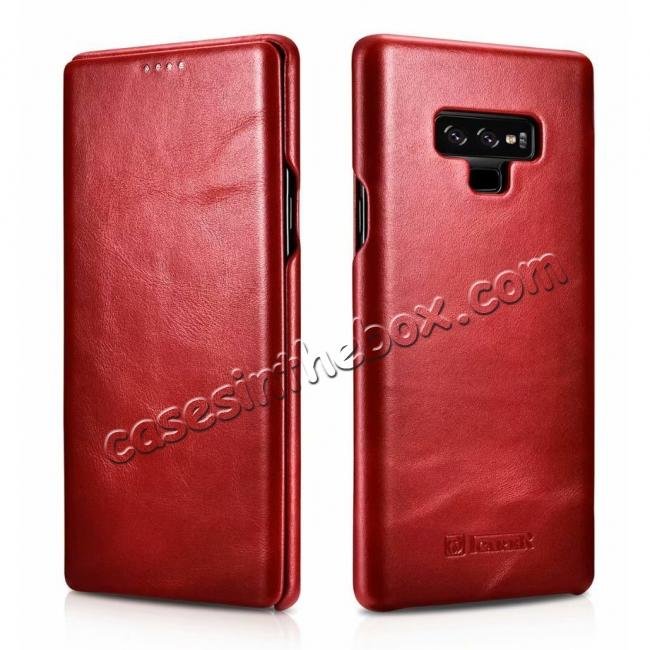 discount ICARER Vintage Curved Edge Real Leather Flip Case For Samsung Galaxy Note 9